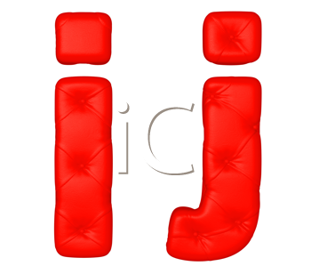 Royalty Free Clipart Image of a Red Leather Font I and J