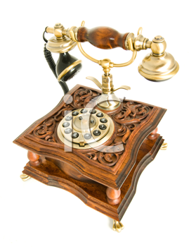 Conversation. Antique telephone isolated over white (wide-angle shot)