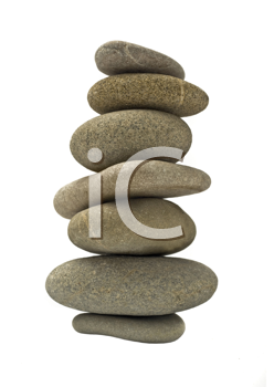 Balanced stone tower or stack isolated over white background