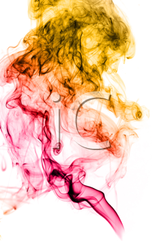 Bright colored abstract fume curves over white background