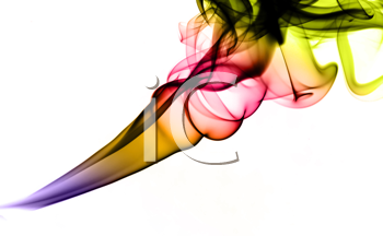 Bright colorful fume abstract shapes over white background