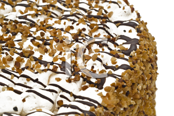 Close-up of tasty birthday cake with cream, nuts and chocolate (shallow DOF)