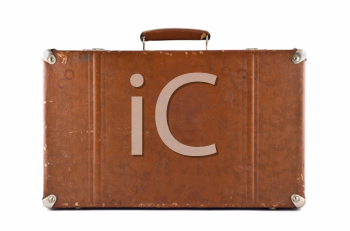 Traveling - old-fashioned suitcase isolated over white