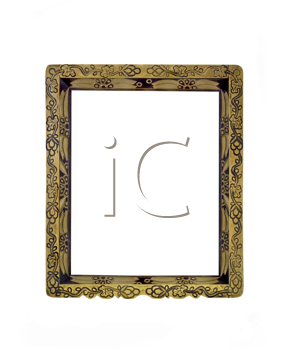 Vertical carved frame for picture or portrait isolated over white