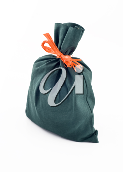 Beautiful sack for gift or present isolated over white