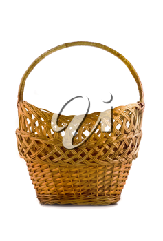 Beautiful woven basket for food isolated over white background