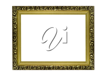 Empty Horizontal golden Frame for picture or portrait isolated