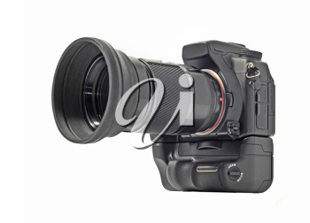 Professional camera with telephoto lens isolated over white