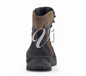 Rear (back) view of Warm leather boot for wearing in winter or traveling (isolated, over white)