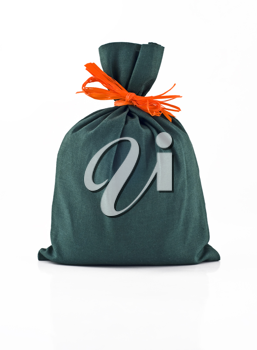 Small green sack for gift or present isolated over white