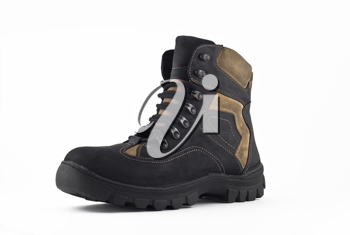 Warm leather boot for wearing in winter or traveling (isolated over white)