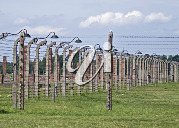 Wire fence and stoves in Birkenau concentration camp, Poland