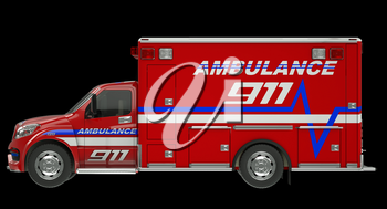 Ambulance: Side view of emergency services vehicle over black. Custom made and rendered