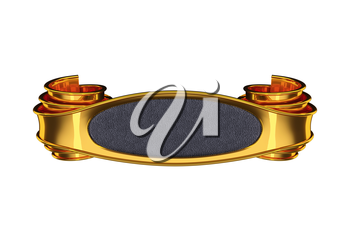 Golden emblem with curles and leather element. On dark background