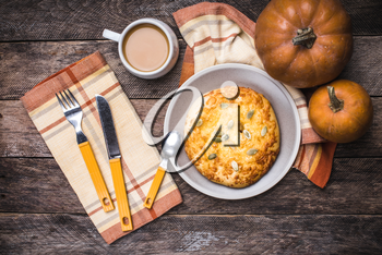 Coffee with flatbread and pumpkins in rustic style. Breakfast and lunch Food photo