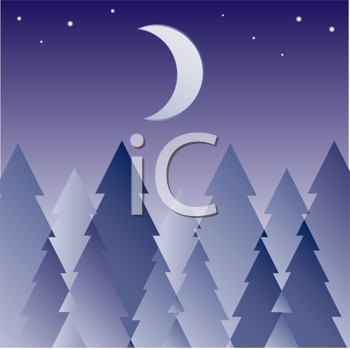 Royalty Free Clipart Image of a Forest at Night