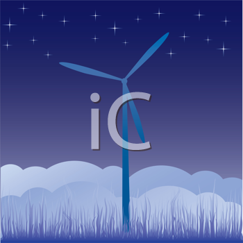 Royalty Free Clipart Image of a Wind Turbine At Night