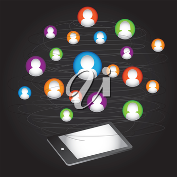 Royalty Free Clipart Image of a Social Network and Tablet