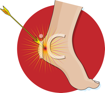 Royalty Free Clipart Image of an Arrow Hitting a Heel