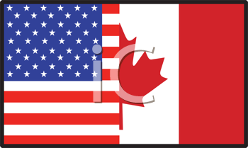 Royalty Free Photo of a Half American, Half Canadian Flag