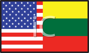 Royalty Free Clipart Image of an American and Lithuanian Flag