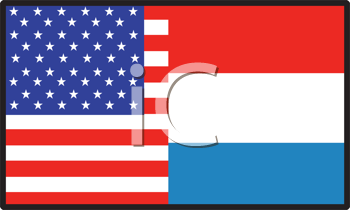 Royalty Free Clipart Image of an American and Luxembourg Flag