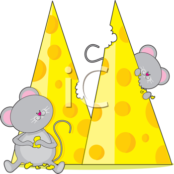 Royalty Free Clipart Image of Mice and Cheese
