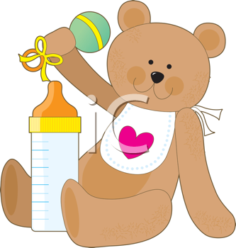 Royalty Free Clipart Image of a Teddy Bear With a Rattle