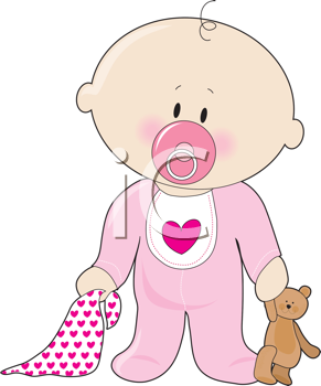 Royalty Free Clipart Image of a Baby Girl With a Soother, Blanket and Teddy Bear