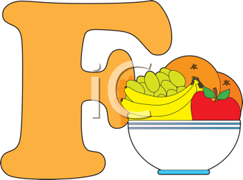 Royalty Free Clipart Image of an F Beside Fruit