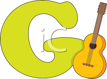 Royalty Free Clipart Image of a Guitar Beside a G