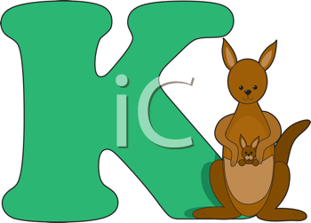 Royalty Free Clipart Image of the Letter K and a Kangaroo