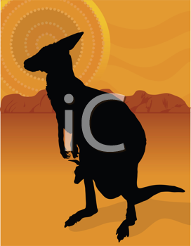 Royalty Free Clipart Image of a Silhouette of a Kangaroo and Baby
