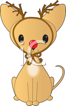 Royalty Free Clipart Image of a Chihuahua With Antlers