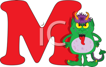 Royalty Free Clipart Image of a Monster Beside M