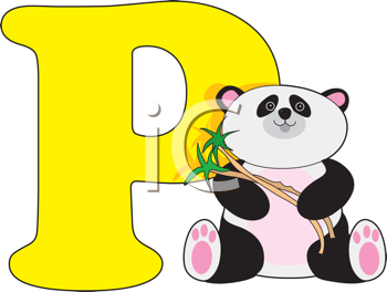 Royalty Free Clipart Image of a Panda Bear Beside a P