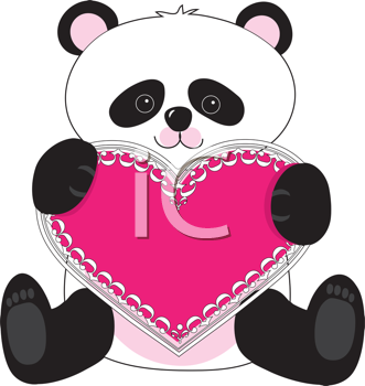 Royalty Free Clipart Image of a Panda With a Pink Lacy Heart