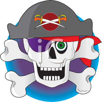 Royalty Free Clipart Image of a Skull and Crossbones Pirate