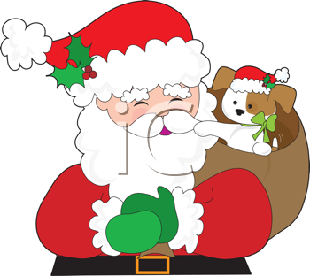 Royalty Free Clipart Image of Santa With a Puppy in His Bag