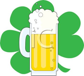 Royalty Free Clipart Image of a Mug of Beer on a Shamrock