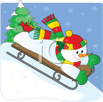 Royalty Free Clipart Image of a Snowman Sledding Downhill