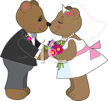 Royalty Free Clipart Image of Teddy Bears Getting Married