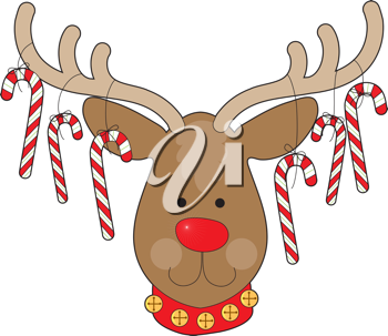 A smiling reindeer with a red nose and a red collar, has candy canes hanging from his antlers.
