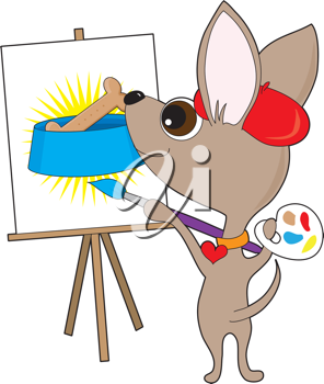 An artistic chihuahua wearing a red beret and collar, is holding a painter's pallet and painting at  an easel. It's a drawing of a favourite subject - FOOD! ... in this case, a dog bone in a dog bowl.