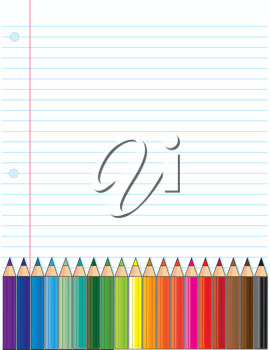 A background of a typical loose leaf, school notebook page, with a bank of colored pencils across the bottom of the page.