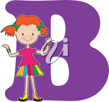 A young girl holding bracelets to stand for the letter B