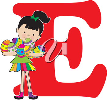 A young girl holding painted eggs to stand for the letter E and Easter