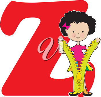 A young girl holding a zipper to stand for the letter Z