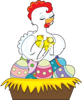Royalty Free Clipart Image of a Chicken on Easter Eggs