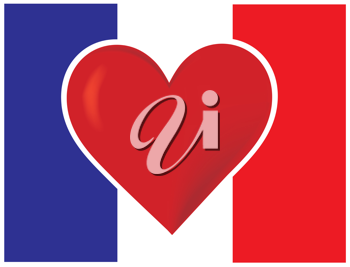 Royalty Free Clipart Image of a Heart on a French Flag